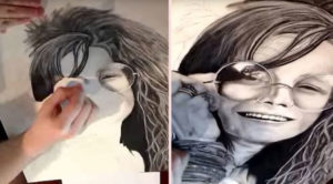 In Just 1 Minute, This Artist Brings A Stunning Janis Joplin Drawing To Life