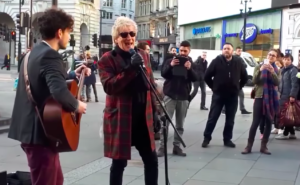 Rod Stewart Busking at Piccadilly Circus