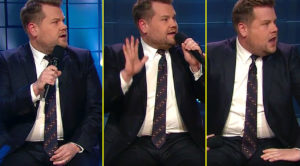 "James Corden Is Horrified By What Comes Out Of His Duet Partner's Mouth During ""Hallelujah"""