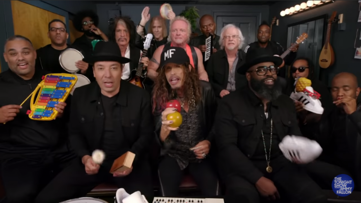 """Aerosmith, The Roots And Jimmy Fallon Performs """"Walk This Way"""" Using Classroom Instruments 