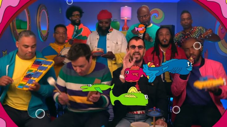 "Watch Ringo Star And Jimmy Fallon Play ""Yellow Submarine"" With Toy Instruments 